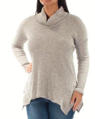 BAR III Womens Oatmeal Cowl Neck Long Sleeve Knit Top L