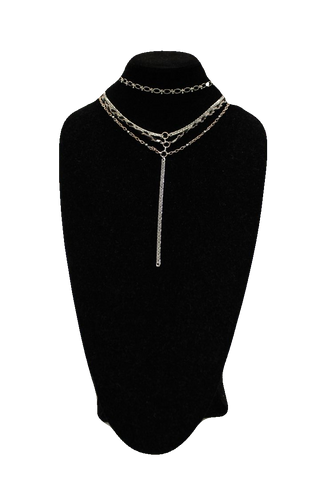 Free People Silver Choker w/ Drop Necklace