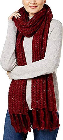 Steve Madden Women's Speckled Soft Knit Scarf,Maroon
