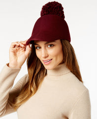 BCBGMAXAZRIA Women's Winter Pom Baseball Hat, Merlot,
