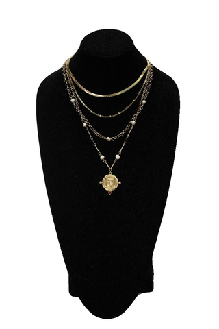 Free People Gold Matinee Necklace w/ Coin Pendant