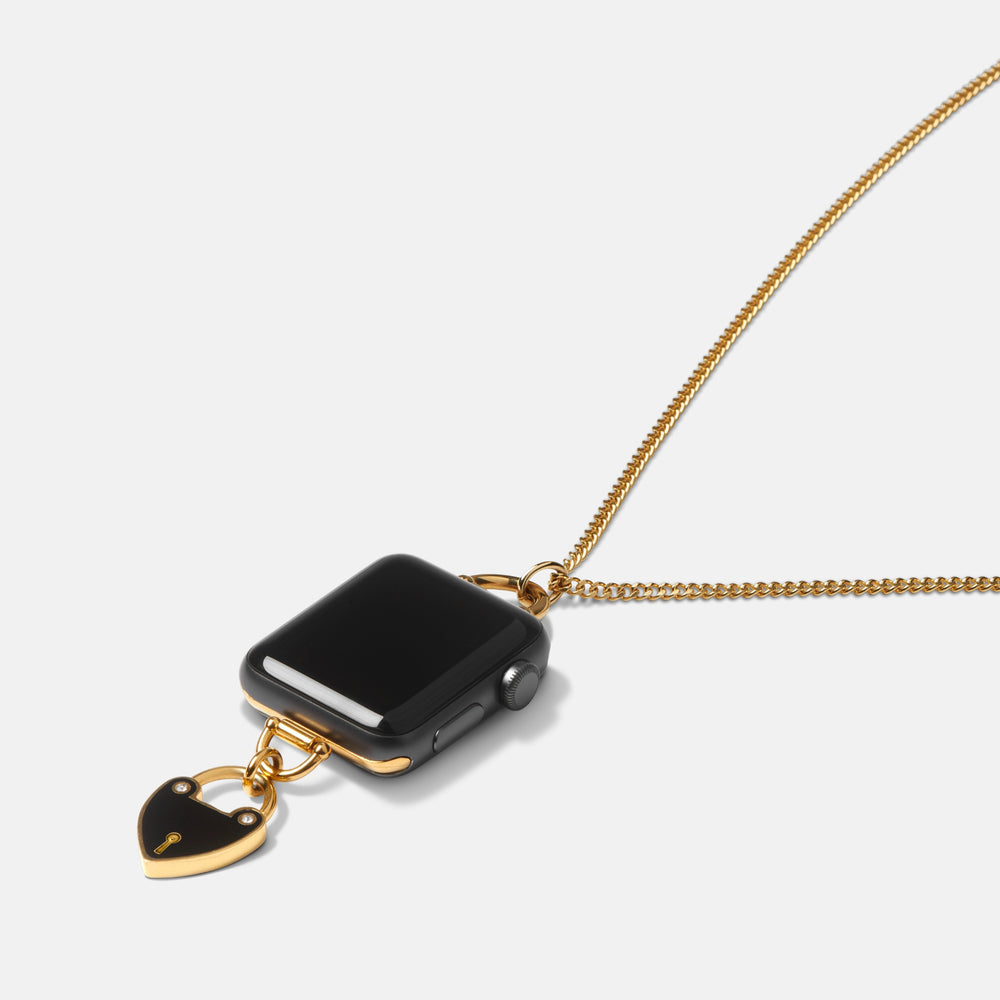Load image into Gallery viewer, Apple Watch Charm Necklace Enameled Heartlock