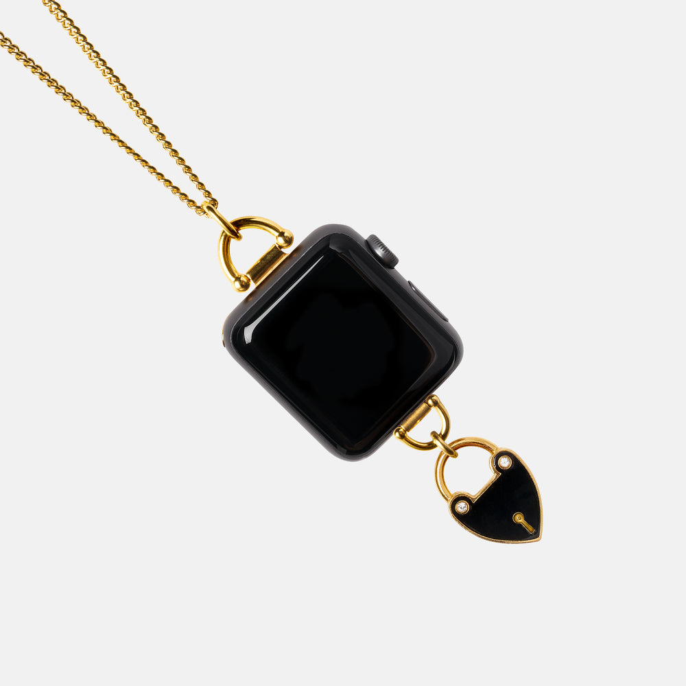 Enameled Heartlock Charm Necklace