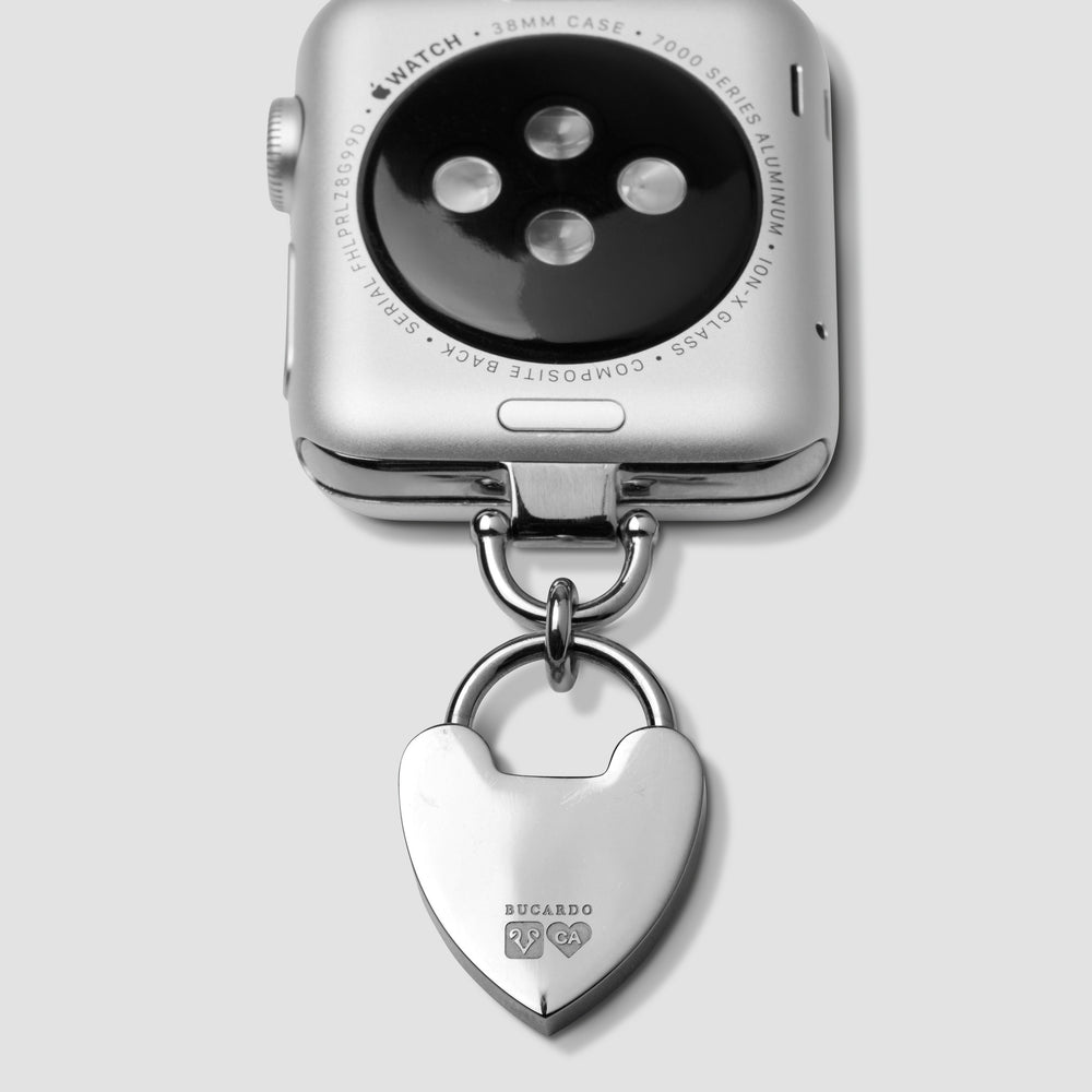 Apple Watch iwatch Silver Charm Necklace adapter wth Heart Charm and Swarovski crystals