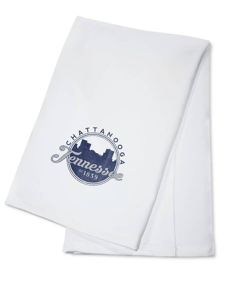 Lantern Press - TOWEL Chattanooga, Tennessee Skyline Seal  Blue - Good World Goods
