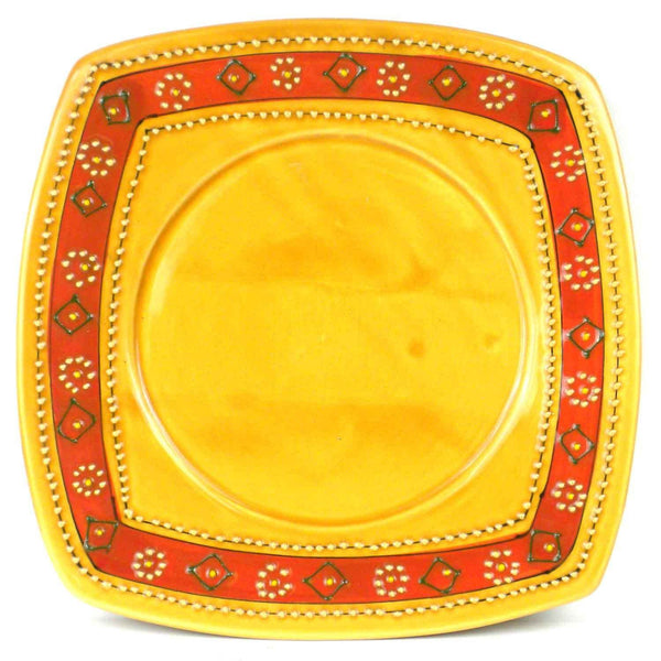 Hand-painted Square Plate in Honey - Encantada - Good World Goods