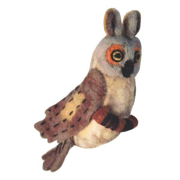 Felt Bird Garden Ornament - Great Horned Owl - Wild Woolies (G) - Good World Goods
