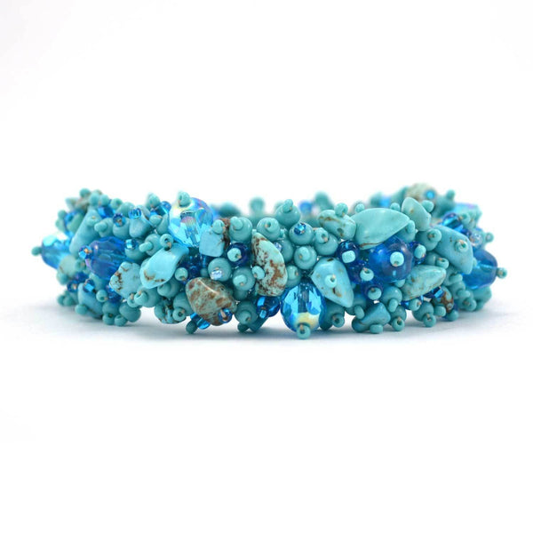 Magnetic Stone Caterpillar Bracelet Turquoise - Good World Goods