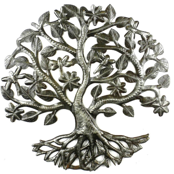 14 inch Tree of Life Dragonfly Metal Wall Art - Croix des Bouquets - Good World Goods