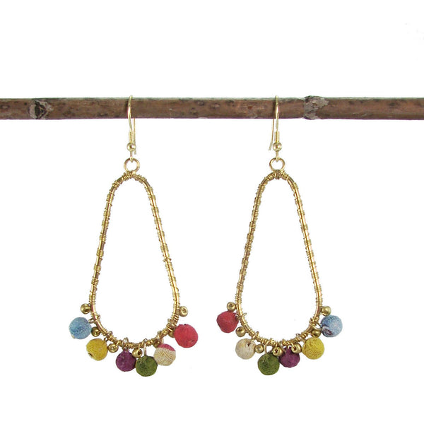 Kantha Beaded Fan Earrings - WorldFinds - Good World Goods