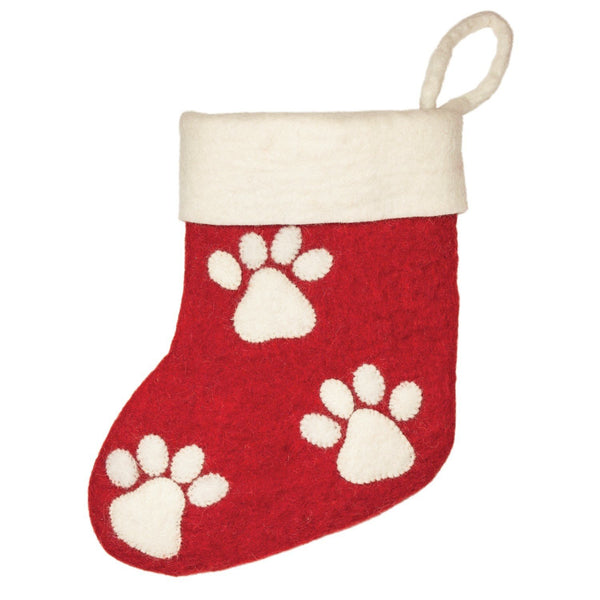 Paw Print Holiday Stocking - Wild Woolies (H) - Good World Goods