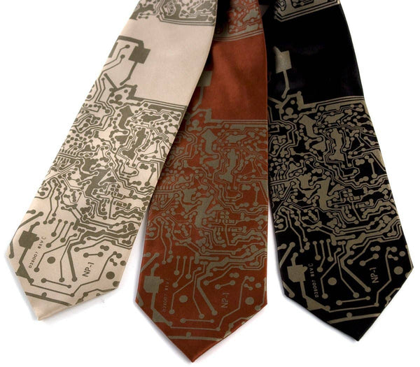 Cyberoptix Tie Lab - Circuit Board Necktie, Short Circuit Silk Tie - Good World Goods