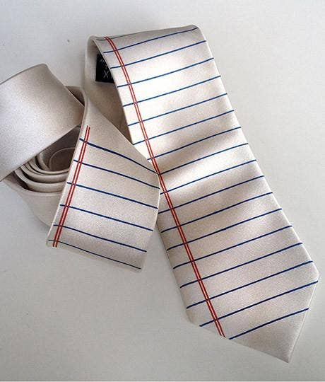 Cyberoptix Tie Lab - College Ruled Necktie. Lined Paper Print Tie - Good World Goods