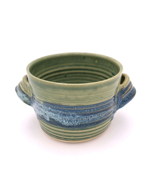 Handmade Pottery - Bread Baker or deep dish casserole, Green with Blue
