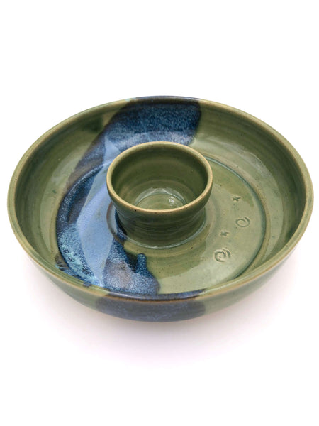 Hand Made Pottery - Small Chip And Dip - Green
