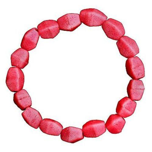 Pink Poppy Glass Pebbles Bracelet Handmade and Fair Trade
