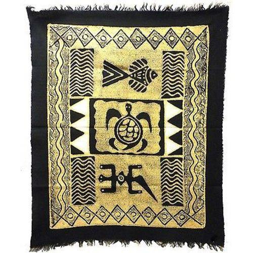 Three Creatures Batik in Black/White - Tonga Textiles - Good World Goods