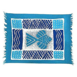 Handpainted Blue Fish Batiked Placemat - Tonga Textiles - Good World Goods
