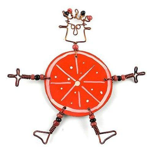 Dancing Girl Orange Slice Pin - Creative Alternatives - Good World Goods