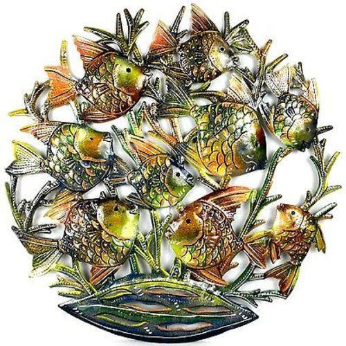 24-Inch Painted School of Fish Metal Wall Art - Croix des Bouquets - Good World Goods