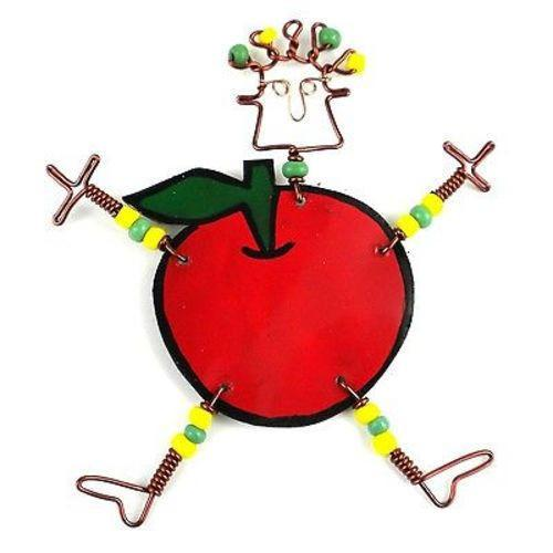 Handmade Dancing Girl Rosy Apple Pin - Creative Alternatives - Good World Goods