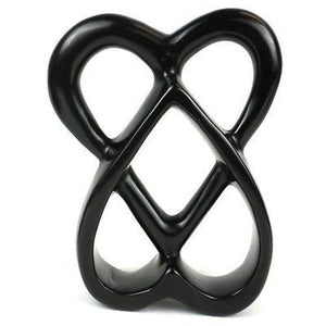Handcrafted 8-inch Soapstone Connected Hearts Sculpture in Black - Smolart - Good World Goods