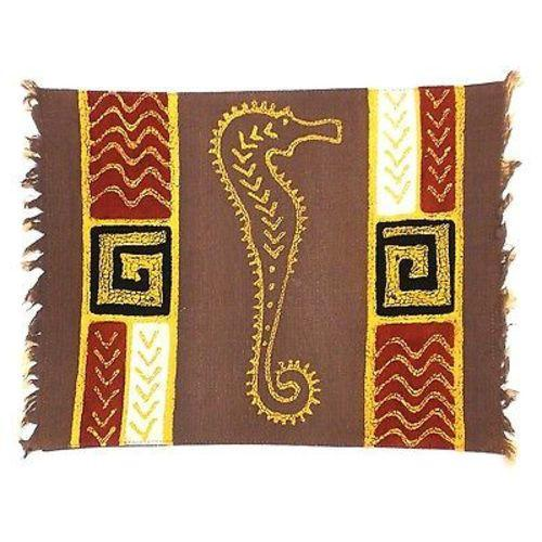 Handpainted Grey Seahorse Batiked Placemat - Tonga Textiles - Good World Goods