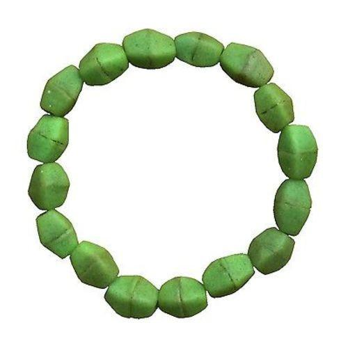 Lime Green Glass Pebbles Bracelet Handmade and Fair Trade
