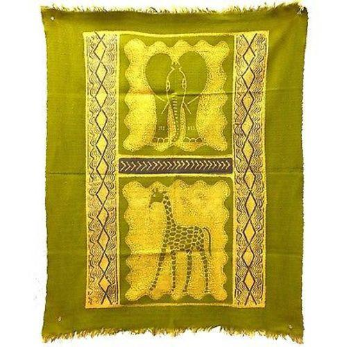Elephant and Giraffe Batik in Lime/Periwinkle - Tonga Textiles - Good World Goods
