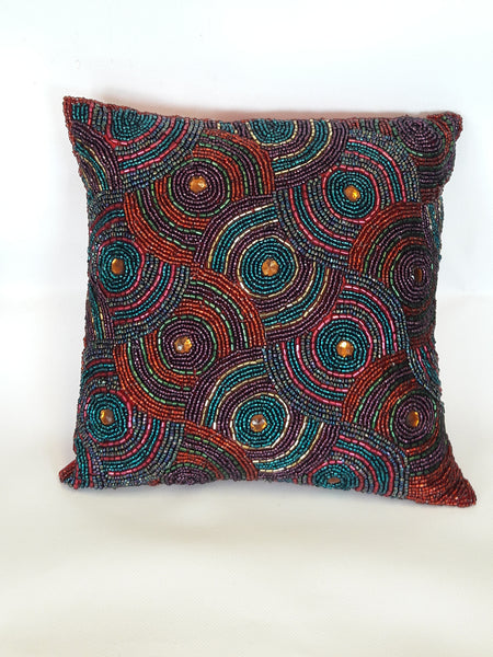 Beaded Pillow - Red Multi Colors