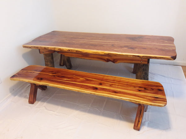 Solid Cedar Table with 2 Side Benches - Sold, but we can make one custom for you!