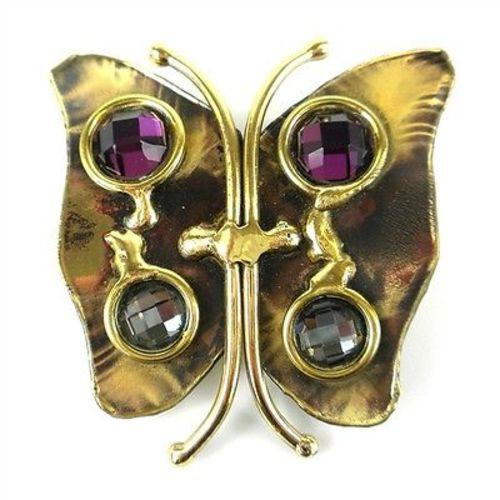 Brass Butterfly Brooch with Crystals Handmade and Fair Trade