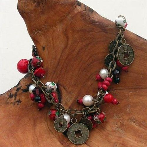 Cloisonne Bead and Coin Charm Bracelet with Red Beads Handmade and Fair Trade