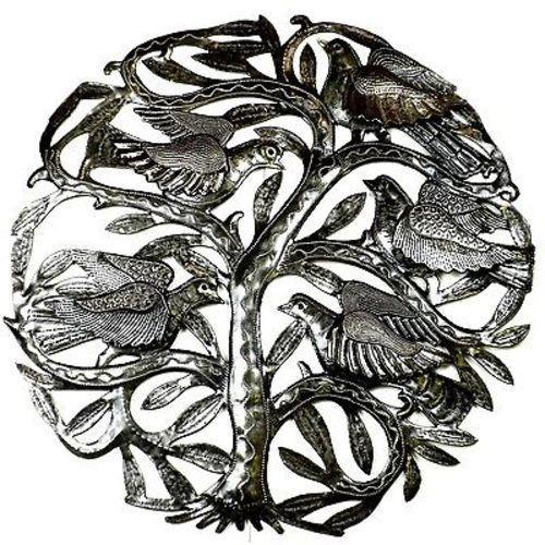 24-inch Tree of Life with 3-D Birds Metal Art Handmade and Fair Trade