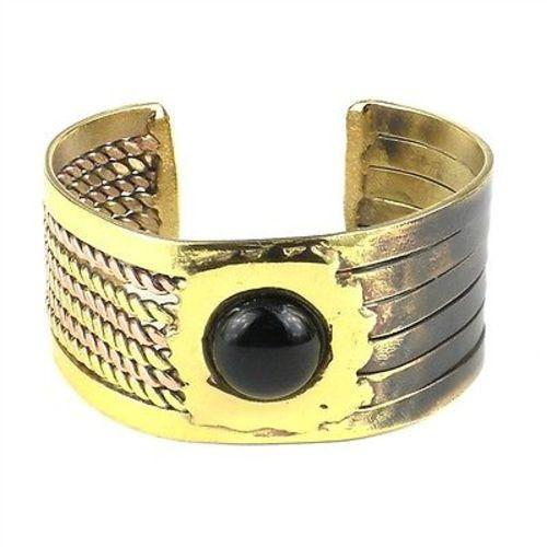 Onyx Ethnic Brass and Copper Cuff - Brass Images (C) - Good World Goods