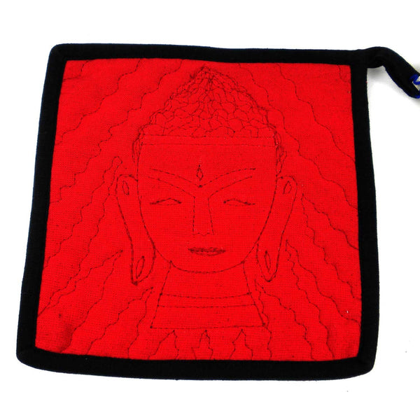 Buddha Hot Pad in Black and Red - Jeevankala (T) - Good World Goods