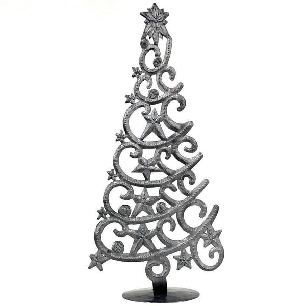 "Global Crafts - 14"" Tall  Tree With Stars Haitian Drum Metal Tabletop Decor"