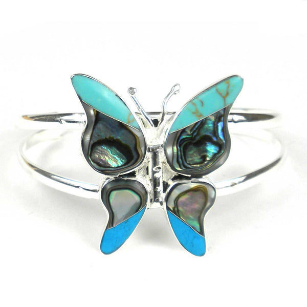 Turquoise Mosiac Alpaca Silver Butterfly Bracelet - Small - Artisana - Good World Goods
