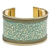 Metal Impression Cuff - Teal and Gold - Matr Boomie (Jewelry)