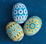 Eggs, quilled in blue and gold - Good World Goods