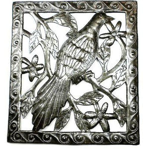 Single Bird Metal Wall Art - 11 by 12 Inches - Croix des Bouquets - Good World Goods
