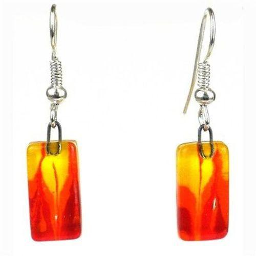 Fire Design Small Glass Earrings Handmade and Fair Trade