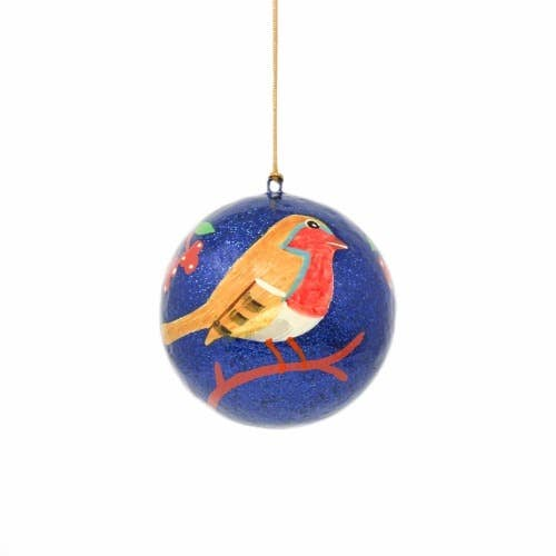 Global Crafts - Handpainted Ornament Bird on Branch - Pack of 3