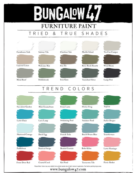 Bungalow 47 Furniture Paint - Bungalow 47 Furniture Paint Color Charts