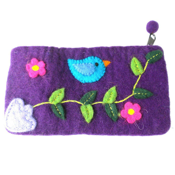 Handmade Felt Purple Bird Clutch - Global Groove (P) - Good World Goods