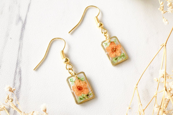 Ann + Joy - Gold Rectangle Drops in Orange & Green Real Dried Flowers and Resin Earrings