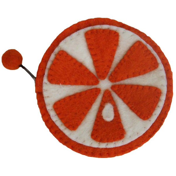 Handmade Felt Fruit Coin Purse - Orange - Global Groove (P) - Good World Goods
