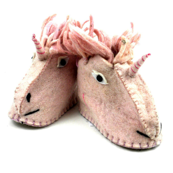Unicorn Felt Zooties - Baby Booties - Silk Road Bazaar