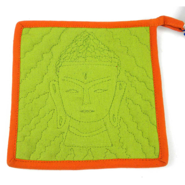 Buddha Hot Pad in Green and Orange - Jeevankala (T) - Good World Goods