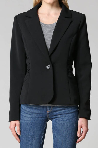 FATE - RUCHED SIDE DETAIL  BLAZER (BLACK) - Good World Goods